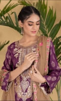 Embroidered Jacquard Shirt Embroidered Chiffon Dupatta Dyed and Jacquard Trouser