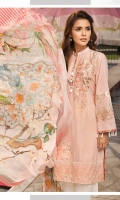 Lawn Embroidered Front  Lawn Embroidered Back  Lawn Embroidered Sleeves  Lawn Embroidered Border for Front and Back  Lawn Printed Facing  Crinkle Chiffon Printed Dupatta  Plain Trouser