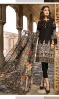 Lawn Embroidered Front Lawn Embroidered Back Lawn Printed Sleeves Lawn Printed Border for Front and Back Lawn Printed Facing Crinkle Chiffon Printed Dupatta Plain Trouser