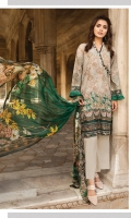 Lawn Printed Back  Lawn Print Embroidered Sleeves  Lawn Printed Border for Front  Crinkle Chiffon Printed Dupatta  Plain Trouser