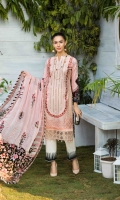 LAWN EMBROIDERED FRONT LAWN PRINTED BACK AND SLEEVES ORGANZA EMBROIDERED BORDER FOR FRONT CHIFFON PRINTED DUPATTA ORGANZA EMBROIDERED BORDER FOR TROUSER PLAIN TROUSER
