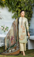 LAWN PRINT EMBROIDERED FRONT LAWN PRINTED BACK AND SLEEVES ORGANZA EMBROIDERED BORDER FOR SLEEVES CHIFFON PRINTED DUPATTA PLAIN TROUSER