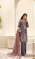 EMBROIDERED CHIFFON FRONT  EMBROIDERED CHIFFON BACK EMBROIDERED CHIFFON SLEEVES  EMBROIDERED NET DUPATTA  EMBROIDERED SLEEVES BORDER  EMBROIDERED FRONT & BACK BORDERS  EMBROIDERED ORGANZA FRONT & BACK BORDER PATCH  DYED TROUSER