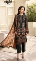 EMBROIDERED CHIFFON FRONT EMBROIDERED CHIFFON BACK EMBROIDERED CHIFFON SLEEVES EMBROIDERED SLEEVES GRIP BORDERS EMBROIDERED FRONT & BACK BORDERS  EMBROIDERED CHIFFON DUPATTA EMBROIDERED DUPATTA BORDER DYED TROUSER TROUSER PATCH