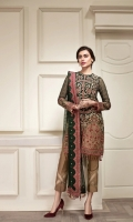 EMBROIDERED  CHIFFON FRONT EMBROIDERED CHIFFON BACK EMBROIDERED CHIFFON SLEEVES EMBROIDERED SLEEVES BORDER EMBROIDERED FRONT & BACK BORDERS EMBROIDERED CHIFFON DUPATTA EMBROIDERED DUPATTA BORDER DYED TROUSER TROUSER PATCH