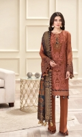 EMBROIDERED  CHIFFON FRONT EMBROIDERED CHIFFON BACK EMBROIDERED CHIFFON SLEEVES EMBROIDERED SLEEVES BORDER EMBROIDERED FRONT & BACK BORDERS DYED ORGANZA JACQUARD DUPATTA DYED TROUSER
