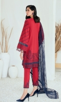 Embroidered Lawn Front Embroidered Lawn Back Embroidered Lawn Sleeves Embroidered Lawn Sleeves Border Embroidered Lawn Front & Back Border Embroidered Organza Dupatta Embroidered Trouser Patch Dyed Trouser