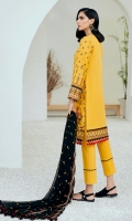 Embroidered Lawn Front Dyed Lawn Back Embroidered Lawn Sleeves Embroidered Lawn Front & Back Borders Embroidered Lawn Sleeves Border Embroidered Chiffon Dupatta Dyed Trouser