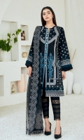 Embroidered Lawn Front & Back Embroidered Lawn Sleeves Embroidered Lawn Front, Back & Sleeves Border Embroidered Organza Dupatta Dyed trouser Dyed Organza