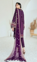 Embroidered Lawn Front Dyed Lawn Back Embroidered Lawn Sleeves Embroidered Lawn Sleeves Border Embroidered Lawn Front & Back Border Embroidered Chiffon Dupatta Dyed Organza Dyed Trouser