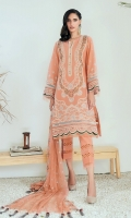 Embroidered Lawn Front Embroidered Lawn Back Embroidered Lawn Sleeves Embroidered Lawn Front, Back & Sleeves Border Embroidered Chiffon Dupatta Dyed Organza  Dyed Trouser