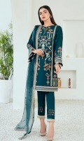 Embroidered Lawn Front & Back Embroidered Lawn Sleeves Embroidered Lawn Front, Back & Sleeves Border Embroidered Organza Dupatta Dyed Trouser