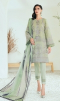 Embroidered Lawn Front Embroidered Lawn Back Embroidered Lawn Sleeves Embroidered Lawn Front & Back Border Embroidered Lawn Sleeves Border Digital Printed Silk Dupatta Dyed Organza Dyed Trouser