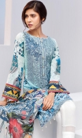 Digital Printed Shirt Embroidered Neck Patch Embroidered Front Border Patch Digital Printed Chiffon Dupatta Dyed Trouser