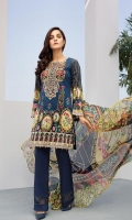 Digital Printed Shirt Embroidered Neck Patch Digital Printed Chiffon Dupatta Dyed Trouser
