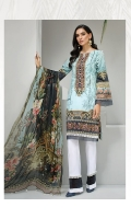 Digital Printed Shirt Embroidered Neck Patch Embroidered Front Border Dyed Organza Patch Digital Printed Chiffon Dupatta Dyed Trouser