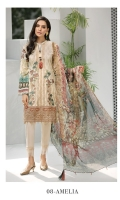 Digital Printed Embroidered Shirt  Embroidered Front Border  Digital Printed Chiffon Dupatta Dyed Trouser  Dyed Organza Patch