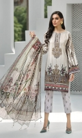 Digital Printed Shirt Embroidered Neck Patch Embroidered Front Border Digital Printed Chiffon Dupatta Embroidered Trouser