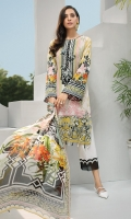 Digital Printed Shirt Embroidered Neck Patch Embroidered Front Border Embroidered Trouser Patch Digital Printed Chiffon Dupatta Dyed Trouser