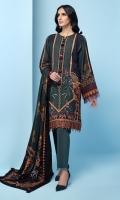 Digital Printed Khaddar Shirt Digital Printed Viscose Net Dupatta Embroidered Front Border Dyed Khaddar Trouser