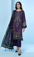 Digital Printed Khaddar Shirt Digital Printed Viscose Net Dupatta Embroidered Neck Patch Dyed Khaddar Trouser