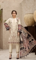 PRINTED EMBROIDERED FRONT PRINTED BACK & SLEEVES PRINTED SILK DUPATTA EMBROIDERED FRONT BORDER EMBROIDERED TROUSER PATCH DYED ORGANZA DYED CAMBRIC LAWN TROUSER