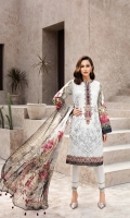 PRINTED EMBROIDERED FRONT PRINTED BACK & SLEEVES PRINTED CHIFFON DUPATTA EMBROIDERED FRONT BORDER EMBROIDERED NECKLINE PATCH DYED ORGANZA DYED CAMBRIC LAWN TROUSER