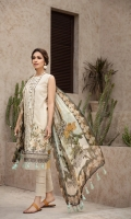 PRINTED EMBROIDERED FRONT PRINTED BACK & SLEEVES PRINTED CHIFFON DUPATTA EMBROIDERED FRONT BORDER DYED ORGANZA DYED CAMBRIC LAWN TROUSER
