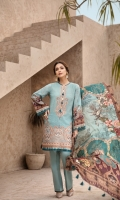 PRINTED SHIRT PRINTED SILK DUPATTA EMBROIDERED FRONT BORDER EMBROIDERED NECKLINE PATCH DYED ORGANZA DYED CAMBRIC LAWN TROUSER