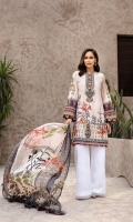 PRINTED EMBROIDERED FRONT PRINTED BACK & SLEEVES PRINTED CHIFFON DUPATTA EMBROIDERED FRONT BORDER EMBROIDERED NECKLINE PATCH DYED ORGANZA EMBROIDERED CAMBRIC LAWN TROUSER