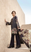PRINTED EMBROIDERED FRONT PRINTED BACK & SLEEVES PRINTED SILK DUPATTA EMBROIDERED FRONT BORDER EMBROIDERED NECKLINE PATCH DYED ORGANZA DYED CAMBRIC LAWN TROUSER