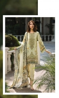 Printed Viscose Net Dupatta Printed Linen Shirt Embroidered Front Neck Patch Embroidered Trouser Patch Dyed Trouser