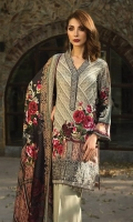 Printed Viscose Net Dupatta Printed Linen Shirt Embroidered Front Border Patch Embroidered Neck Patti Dyed Trouser