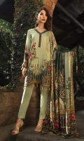 Printed Viscose Net Dupatta Printed Linen Shirt Embroidered Front Border Patch Embroidered Sleeve Patch Dyed Trouser