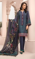Digital Printed Viscose Net Dupatta Digital Printed Embroidered Linen Shirt Embroidered Daman Patch Dyed Trouser