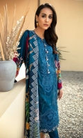 Digital Printed Embroidered Linen Shirt Digital Printed Viscose Net Dupatta Embroidered Neck & Border Patch Dyed Linen Trouser