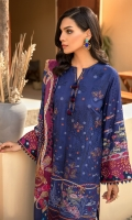 Digital Printed Embroidered Linen Front Digital Printed Linen Back & Sleeves Digital Printed Viscose Net Dupatta Embroidered Front Border Dyed Linen Trouser
