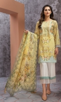Embroidered Lawn Front Digital Printed Back Digital Printed Chiffon Dupatta Dyed Trouser