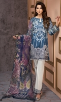 Digital Printed Shirt Embroidered Front Border Patch Embroidered Trouser Patch Digital Printed Chiffon Dupatta Dyed Trouser