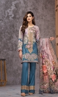 Digital Printed Shirt Embroidered Neck Patch Embroidered Trouser Patch Digital Printed Chiffon Dupatta Dyed Trouser