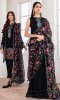 EMBROIDERED CHIFFON FRONT PANNEL EMBROIDERED CHIFFON SIDE PANNELS EMBROIDERED CHIFFON BACK PANNEL EMBROIDERED CHIFFON SLEEVES EMBROIDERD SLEEVES BORDER EMBROIDERD FRONT & BACK BORDERS EMBROIDERED ORGANZA DUPATTA EMBROIDERED DUPATTA BORDER DYED TROUSER
