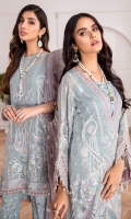 EMBROIDERED CHIFFON FRONT EMBROIDERED CHIFFON BACK EMBROIDERED CHIFFON SLEEEVES EMBROIDERED ORGANZA DUPATTA EMBROIDERED FRONT & BACK BORDERS EMBROIDERED SLEEVES BORDERS PASTE PRINTED TROUSER