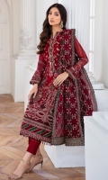EMBROIDERED CHIFFON FRONT PANNEL EMBROIDERED CHIFFON FRONT SIDE PANNELS EMBROIDERED CHIFFON BACK PANNEL EMBROIDERED CHIFFON BACK SIDE PANNELS EMBROIDERED CHIFFON SLEEVES EMBROIDERED SLEEVES BORDER EMBROIDERED FRONT & BACK BORDERS EMBROIDERED ORGANZA DUPATTA EMBROIDERD DUPATTA BORDERS DYED TROUSER
