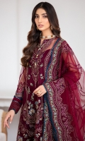EMBROIDERED NET FRONT EMBROIDERED NET SIDE PANNELS EMBROIDERED NET SLEEVES EMBROIDERED NET BACK EMBROIDERED NET DUPATTA EMBROIDERED FRONT & BACK BORDER EMBROIDERED SLEEVES BORDER EMBROIDERED TROUSER PATCH DYED TROUSER