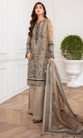 EMBROIDERED CHIFFON FRONT PANNEL EMBROIDERED CHIFFON FRONT SIDE PANNELS EMBROIDERED CHIFFON BACK PANNEL EMBROIDERED CHIFFON BACK SIDE PANNELS EMBROIDERED CHIFFON SLEEVES EMBROIDERED SLEEVES BORDERS EMBROIDERED FRONT & BACK BORDER EMBROIDERD ORGANZA DUPATTA EMBROIDERD DUPATTA BORDERS EMBROIDERED TROUSER PATCH DYED TROUSER