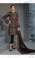 EMBROIDERED CHIFFON FRONT  EMBROIDERED CHIFFON BACK  EMBROIDERED CHIFFON SLEEVES EMBROIDERED CHIFFON DUPATTA  EMBROIDERED FRONT & BACK BORDERS  EMBROIDERED SLEEVES BORDER  EMBROIDERED SLEEVES ORGANZA PATCH  DYED TROUSER