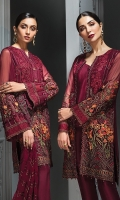 EMBROIDERED CHIFFON FRONT  EMBROIDERED CHIFFON BACK EMBROIDERED CHIFFON SLEEVES EMBROIDERED CHIFFON DUPATTA EMBROIDERED FRONT & BACK BORDERS EMBROIDERED SLEEVES BORDER  EMBROIDERED SLEEVES & SHIRT PATTI EMBROIDERED SLEEVES ORGANZA PATCH DYED TROUSER