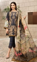 Embroidered Lawn Front Digital Printed Back Front and Sleeves Lace Digital Printed Chiffon Dupatta Dyed Trouser