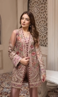 Embroidered Chiffon Front  Embroidered Chiffon Back Embroidered Chiffon Sleeves Embroidered Chiffon Dupatta Embroidered Front & Back Border Embroidered Sleeves Border Dyed Raw Silk Trouser