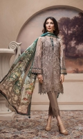 Embroidered Chiffon Front  Embroidered Chiffon Back Embroidered Chiffon Sleeves Digital Printed Pure Silk Tissue Dupatta Embroidered Front & Back Border Embroidered Sleeves Border Dyed Raw Silk Trouser